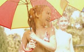 Picture joy, children, umbrella, rain, child, boy, girl, baby, fun