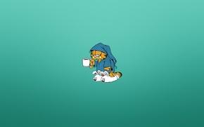 Picture cat, minimalism, morning, mug, pajamas, gloomy, Garfield, Garfield, bluish background, white fluffy Slippers