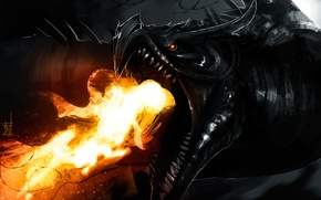Picture flame, dragon, art, Skyrim, The Elder Scrolls V, by TheRisingSoul, Alduin
