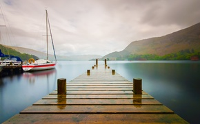 Picture the sky, mountains, lake, boat, yacht, the bridge