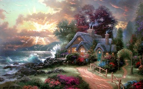 Wallpaper sea, dawn, cottage, Thomas Kinkade, A New Day Dawning, dawn, rolling sea