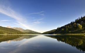 Picture forest, mountains, nature, lake, France, the lake of Payolle