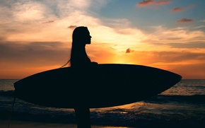 Picture girl, sunset, silhouette, Board, surfing, MAVRIN