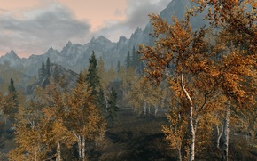 Picture autumn, the sky, clouds, trees, landscape, mountains