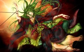Picture girl, art, witch, kimono, thread, code geass, deviantart, c.c., lightning bullet