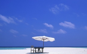Picture relax, sky, sea, ocean, landscape, Beach, nature, water, clouds, sand, chair, table, vacation, exotic, white ...