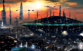 Picture sunset, the city, future, skyscrapers, sci-fi