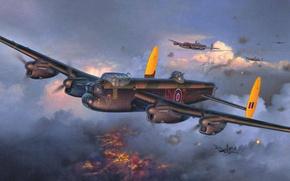 Picture British four-engine heavy bomber, figure, Avro 683 Lancaster