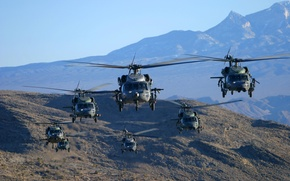 Picture mountains, flight, helicopter, Black Hawk, HH-60G, Pave Hawk, MH-60