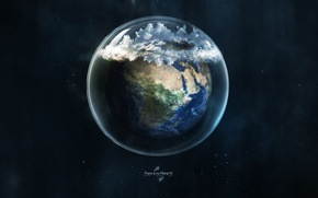 Picture glass, earth, planet, ball