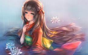 Picture water, girl, flowers, anime, tears, art, kimono, piyo7piyo9, mogumi