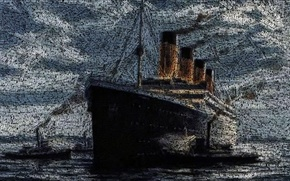 Picture Figure, Liner, Titanic, The ship, Titanic, Tugs, Passenger ship, RMS Titanic, on the go, Names