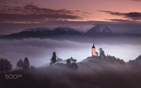 Picture clouds, mountains, fog, Church