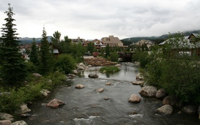 Picture river, nature, town