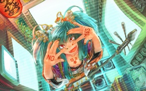 Picture girl, wire, guitar, vocaloid, hatsune miku, moneraty