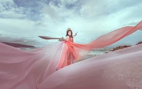 Picture sea, the sky, color, dress, fabric, Asian, swords