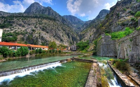 Wallpaper mountains, stream, wall, rocks, Montenegro, Kotor