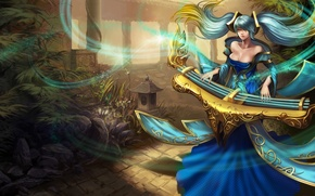 Picture girl, stones, magic, garden, track, musical instrument, league of legends