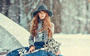 Picture look, girl, face, model, hair, key, image, hat, Princess, Anastasia Shcheglova