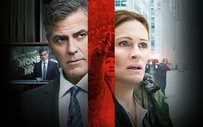 Wallpaper Thriller, poster, crime, George Clooney, George Clooney, Julia Roberts, Financial monster, Julia Roberts, Money Monster
