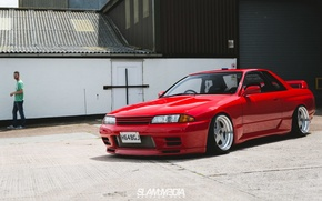 Picture nissan, turbo, red, wheels, skyline, japan, jdm, tuning, gtr, front, face, racing, r32, nismo, datsun