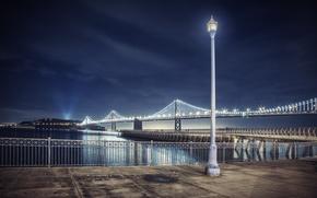 Picture night, lights, lamp, CA, Bay Bridge, San Francisco