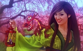 Wallpaper girl, dragon, China, Sakura, fantasy, China, girl, fantasy, Princess, flowering, dragon, Mulan, fanart, fanart, Walt ...
