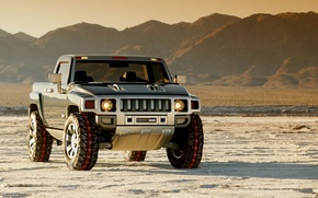 Picture Concept, The sky, Mountains, Snow, Hammer, Jeep, Hummer, 2004, H3T, Hummer H3