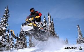 Picture forest, snow, jump, sport, sport, snow, snowmobile, snowmobile, ski-doo, mxz, brp, skidoo, xrs