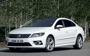 Picture white, trees, background, coupe, volkswagen, the front, Volkswagen, passat, Passat, r-line