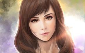 Picture girl, face, hair, portrait, art