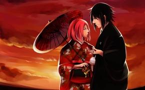 Picture naruto, art, Sasuke Uchiha, kimono, Maru, girl guy, Sakuro Failure