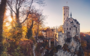 Wallpaper autumn, light, castle, Germany, haze