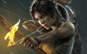 Picture girl, rain, fire, the game, arrow, Tomb Raider, girl, game, Lara Croft