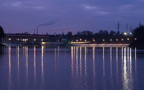 Picture Water, The evening, River, Lights