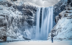 Picture ice, Winter, river, landscape, nature, water, mountains, rocks, snow, man, waterfall, Iceland, Skogafoss waterfall