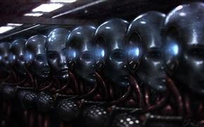 Picture robots, art, a lot, Peeps, factory, androids