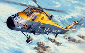 Picture figure, helicopter, British, multipurpose, The Royal Navy, Andrew Deredos, Westland Wessex, HAS Mk.3