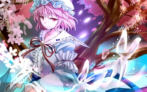 Picture girl, trees, flowers, butterfly, anime, petals, fan, art, touhou, saigyouji yuyuko, gibuchoko