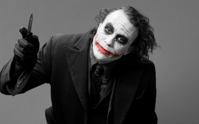 Picture smile, grey, background, Joker, the film, blood, Batman, JOKER, costume, knife, scar, Batman, the dark ...