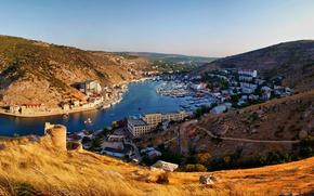 Picture mountains, the city, river, home, boats, Crimea, Balaclava