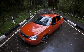 Picture drives, road, red, priora, very, leaves, Lada 2170, prior