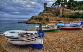 Picture sand, sea, beach, coast, boats, fortress, Spain, Spain, Catalonia, Costa Brava, Catalonia, The Balearic sea, …