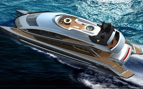 Picture sea, yacht, catamaran, motor