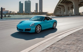 Picture car, auto, city, 911, Porsche, wallpaper, convertible, turquoise, road, Cabriolet, Carrera S