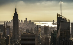 Picture dawn, skyscrapers, morning, USA, America, new York, State New York