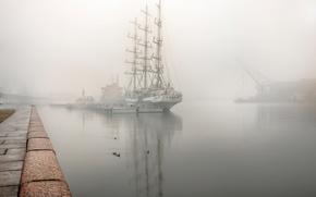 Picture fog, sailboat, The world, Saint Petersburg