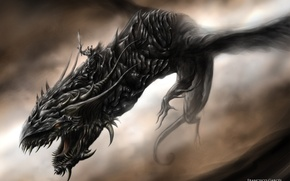 Picture darkness, dragon, wings, monster
