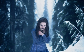 Picture cold, winter, forest, girl, makeup, Lichon