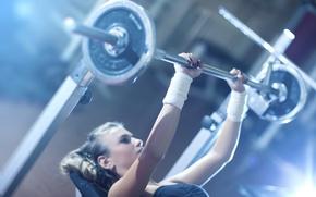 Wallpaper woman, fitness, gym, weight bar